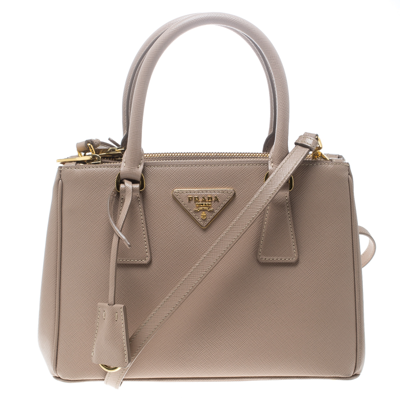 1dc3f84e9c07 ... Prada Blush Pink Saffiano Lux Leather Mini Double Zip Top Handle Bag.  nextprev. prevnext