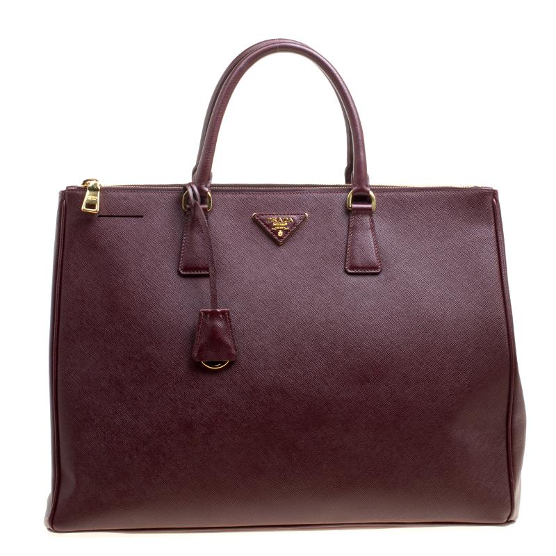 cd77fd53fb8d ... Prada Burgundy Saffiano Lux Leather Executive Double Zip Tote.  nextprev. prevnext