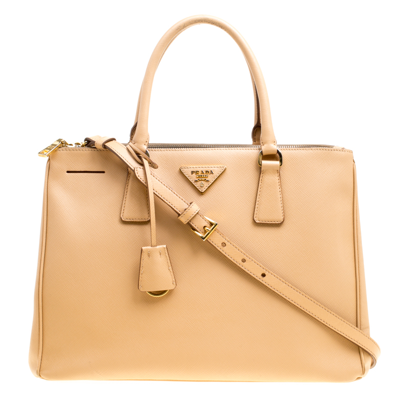 7738216cb3b658 ... Prada Beige Saffiano Lux Leather Medium Galleria Double Zip Top Handle  Bag. nextprev. prevnext