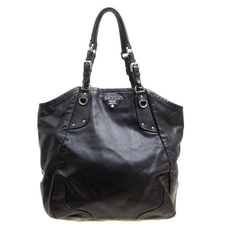 66bceb374502 Buy Prada Black Soft Calf Leather Tote 156305 at best price   TLC