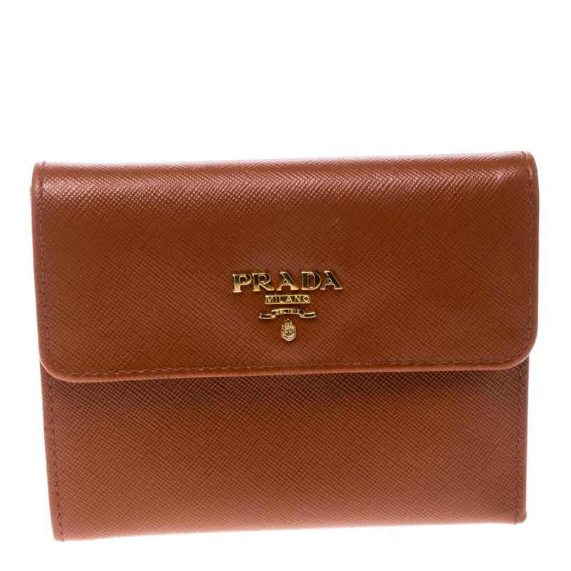 Купить со скидкой Prada Orange Saffiano Lux Leather Trifold Wallet