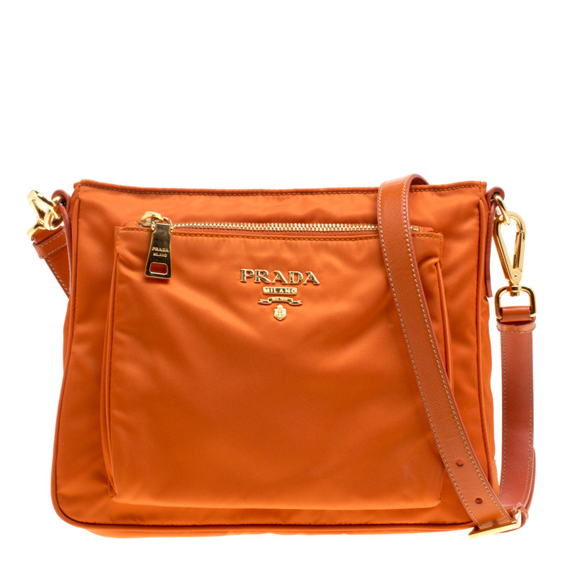 dc7aa74b3047 Buy Prada Orange Nylon Crossbody Bag 157776 at best price | TLC