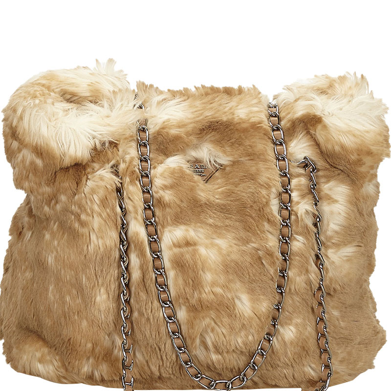 ad9b69c9a74b Buy Prada Beige Faux Fur Chain Shopper Tote 158373 at best price | TLC
