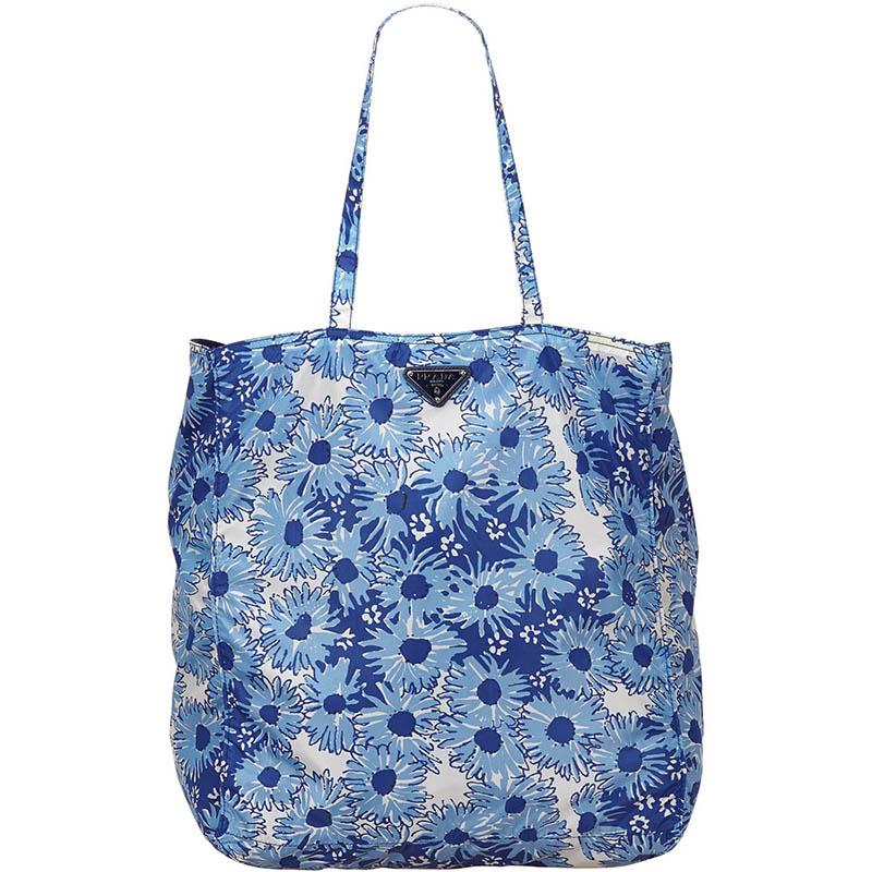 69ef8f24850d Buy Prada Blue Floral Print Nylon Shopper Tote 158380 at best price ...