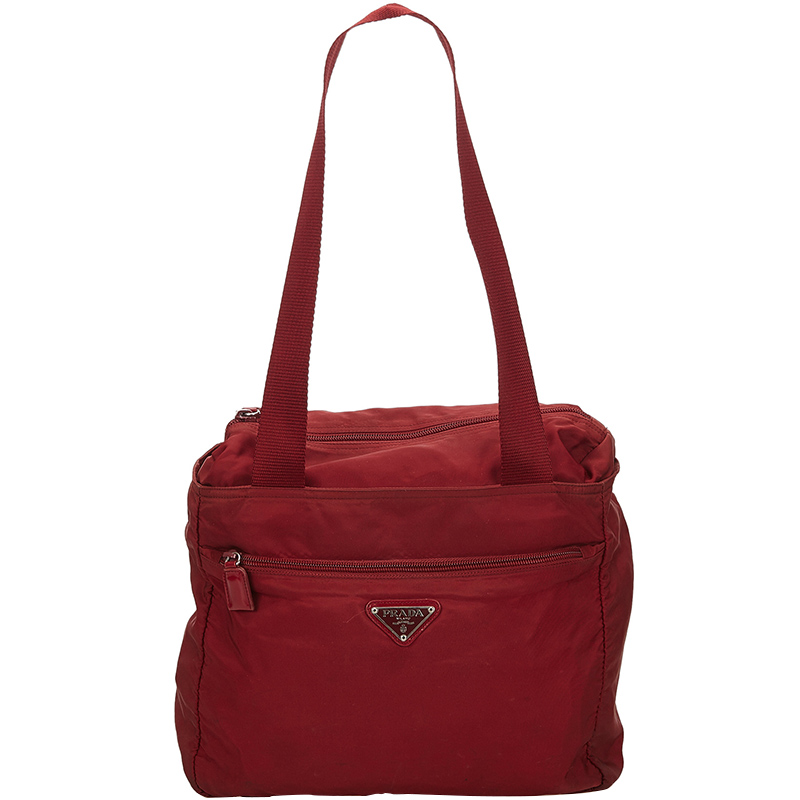 Buy Prada Red Tessuto Nylon Shoulder Bag 158684 at best price  05adde6c8106c