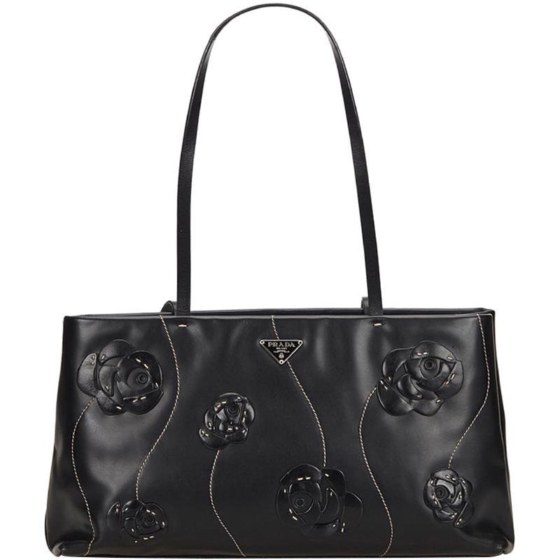 Buy Prada Black Leather Flower Embellished Shoulder Bag 159109 at ...
