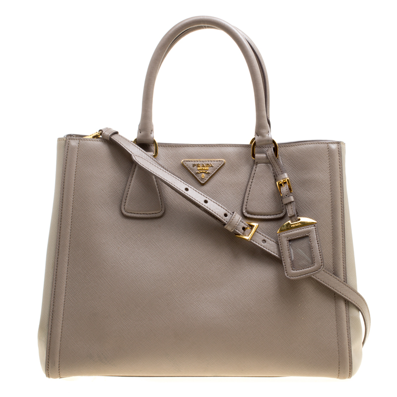 0742a2f7ee9d Buy Prada Two Tone Taupe Saffiano Lux Leather Shopper Tote 161230 at ...