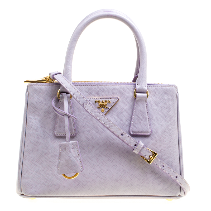 e4954b399a4bd5 Buy Prada Lilac Saffiano Lux Leather Mini Double Zip Tote 161397 at best  price | TLC