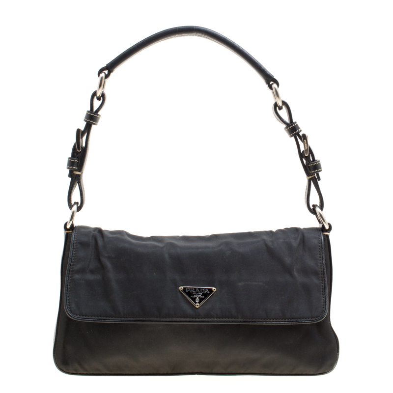 d27a6728adfe ... Prada Black Nylon and Leather Flap Shoulder Bag. nextprev. prevnext
