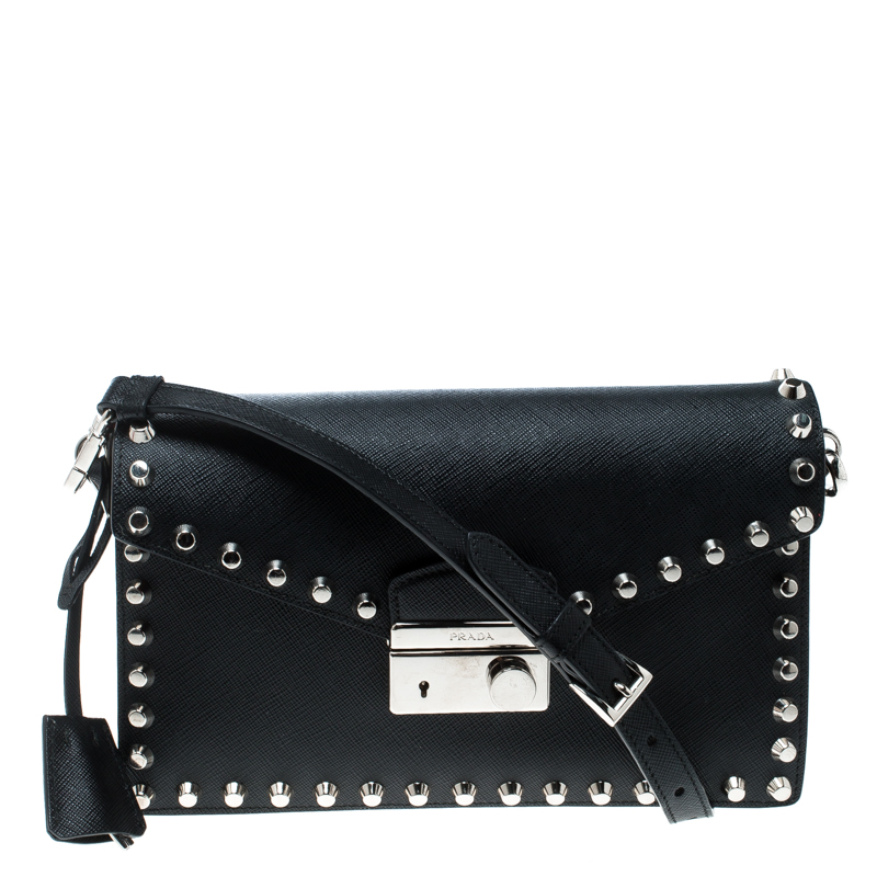c6343d19dc72 Buy Prada Black Leather Studded Shoulder Bag 165926 at best price | TLC
