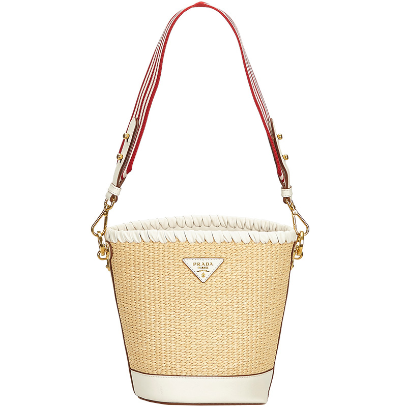 eb2d8094aa25 Buy Prada Light Brown Raffia Bucket Bag 166274 at best price | TLC