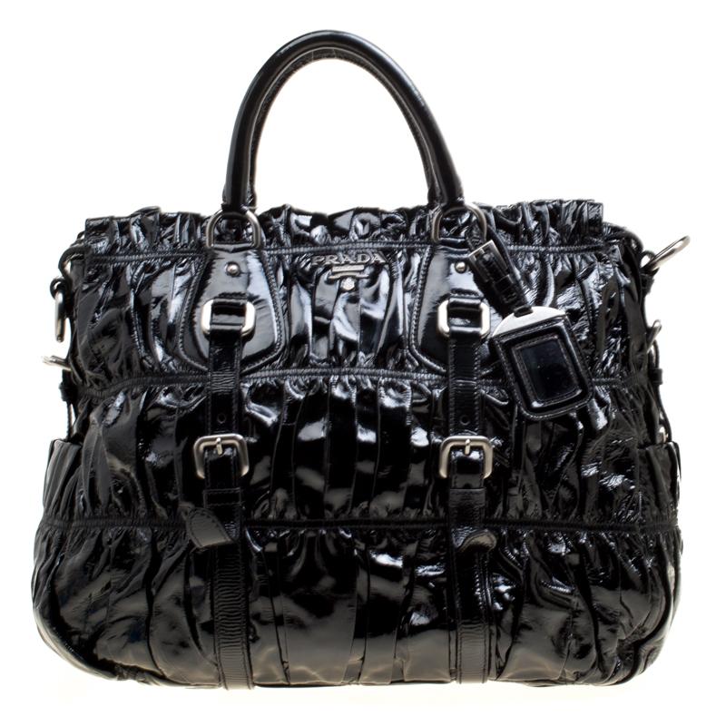 1bcfb288f Buy Prada Black Gaufre Patent Leather Tote 166578 at best price | TLC