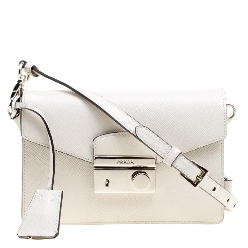 9cc2b1f0ccd70e Buy Prada Off White Saffiano Leather Mini Sound Crossbody Bag 168314 ...