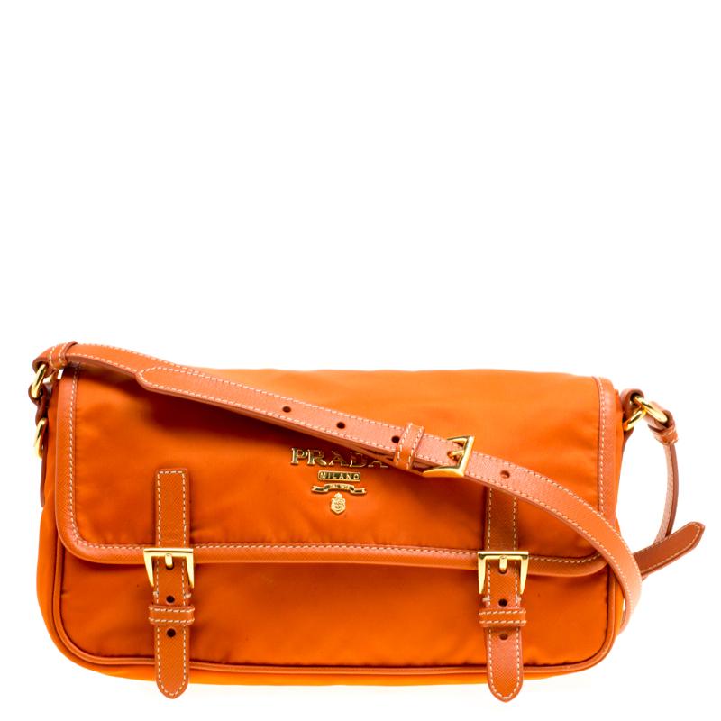 126a742fa6af Buy Prada Orange Nylon Crossbody Bag 168341 at best price