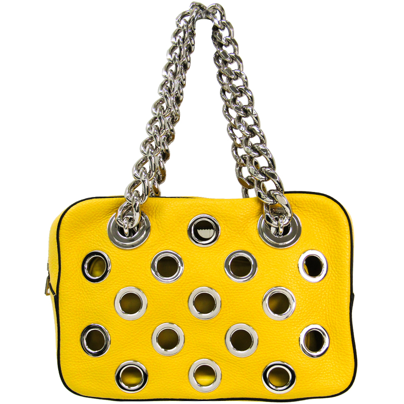 a3d0df6ec301 ... Prada Yellow Vitello Daino Leather Grommet Chain Shoulder Bag.  nextprev. prevnext