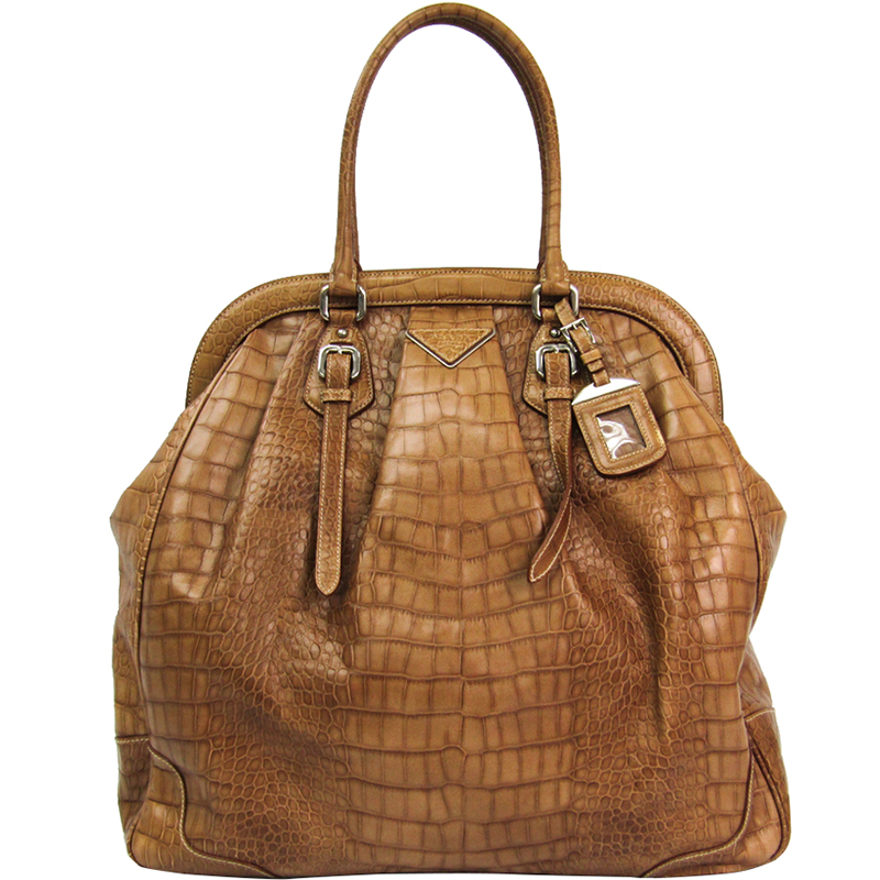 31ef19bb5d40 ... Prada Brown Croc Embossed Leather Satchel Bag. nextprev. prevnext