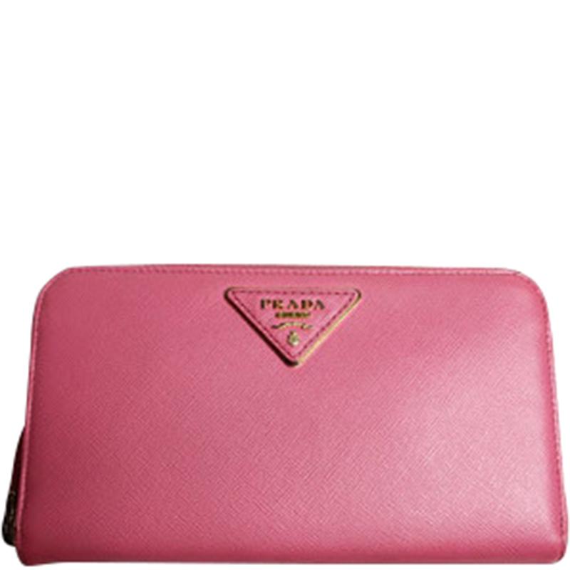 de9ff0e845eaab ... Prada Pink Saffiano Lux Leather Zip Around Wallet. nextprev. prevnext