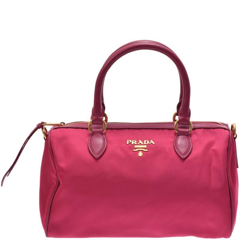 Prada Fuchsia Tessuto Nylon And Leather Bowling Bag