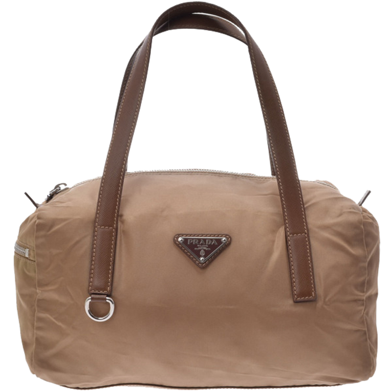 cbc8e1c52ef1a ebay buy prada beige brown tessuto nylon satchel bag 169104 at best price  7764f a1768