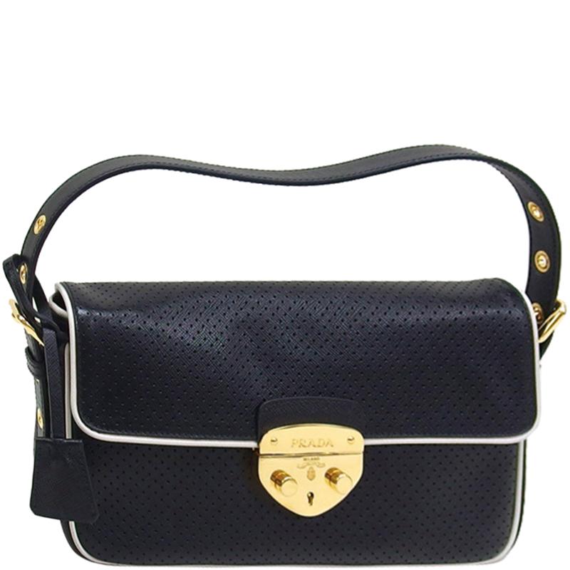 ... Prada Black White Perforated Leather Top Handle Bag. nextprev. prevnext 8133c5eb9f318