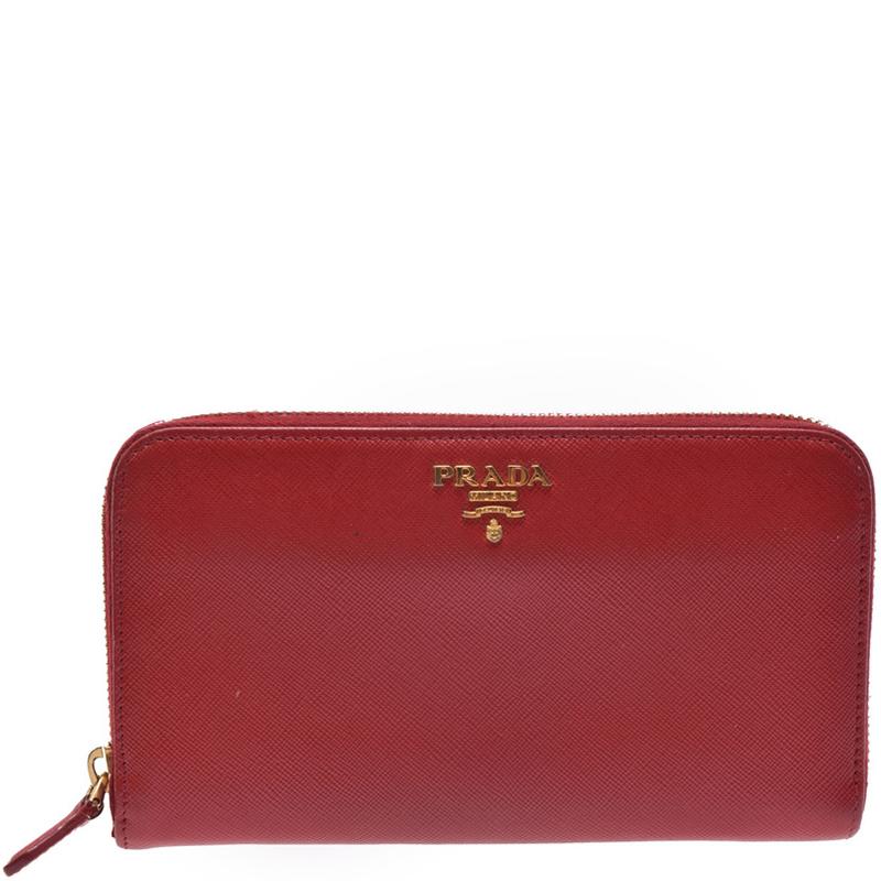 1c0f1b3c9fe Prada Red Saffiano Leather Zip Around Wallet