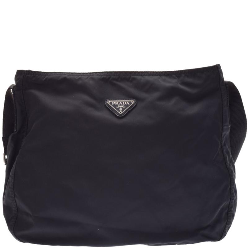 ad5a23e8be1b7 Buy Prada Black Tessuto Nylon Messenger Bag 169176 at best price
