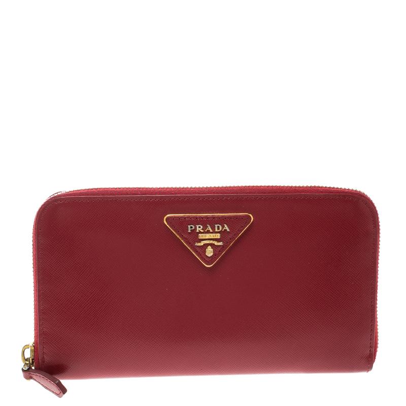 2be25acd201ea5 ... Prada Red Saffiano Leather Zip Around Wallet. nextprev. prevnext