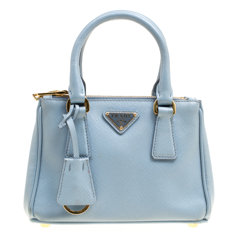 e690da0b92bebb ... Prada Pale Blue Saffiano Lux Leather Mini Double Zip Top Handle  Shoulder Bag. nextprev. prevnext