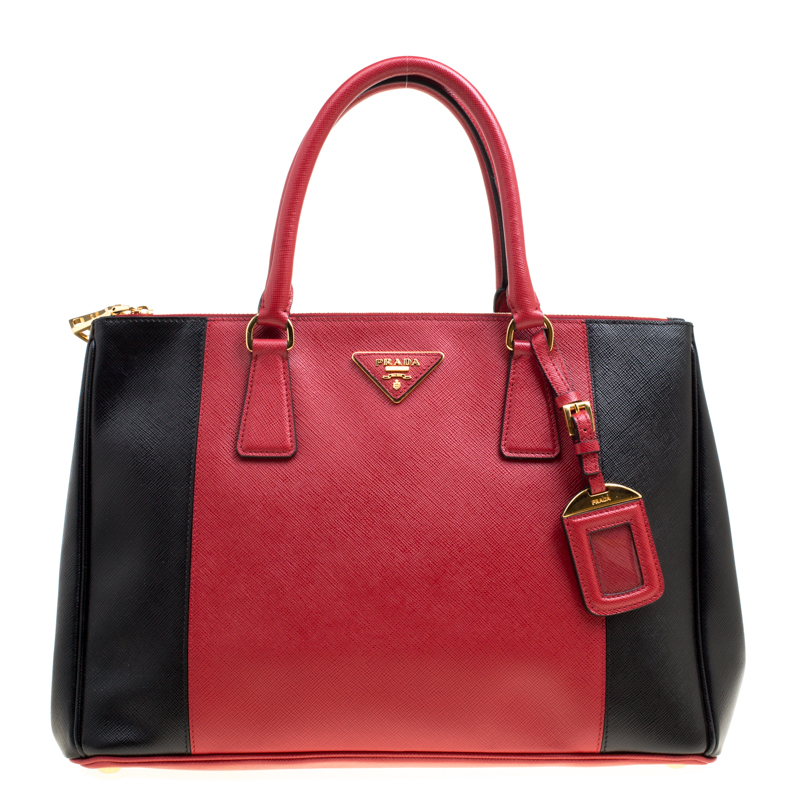 973ddae4f6f2 ... Prada Red Black Saffiano Lux Leather Medium Double Zip Tote. nextprev.  prevnext