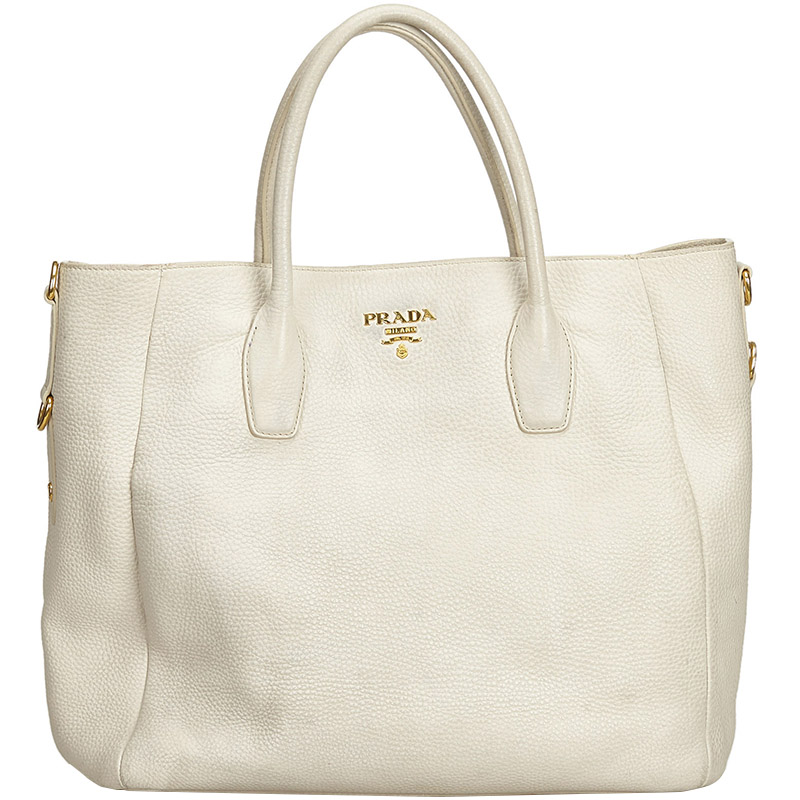 Buy Prada White Vitello Daino Leather Tote Bag 170482 At