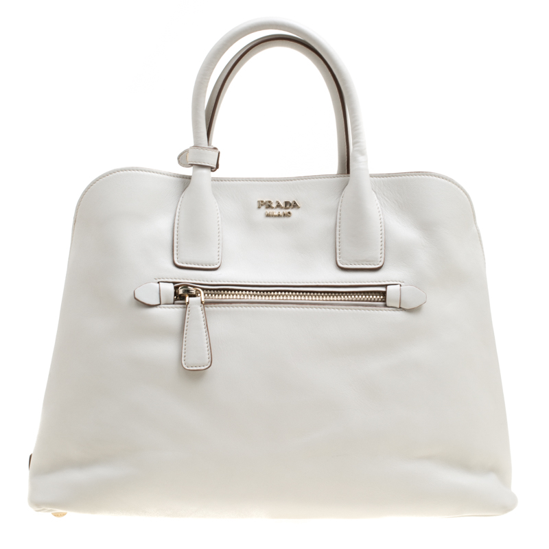 fe40acb6dadc Buy Prada Off White City Calf Leather Tote 171322 at best price | TLC