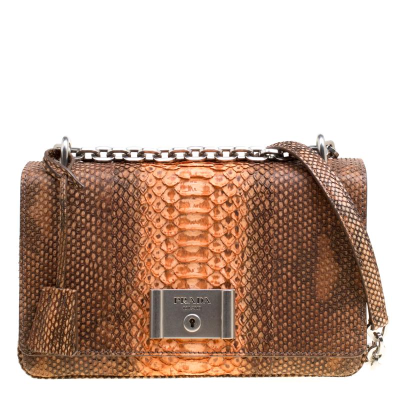 99d24d4656f777 Buy Prada Brown/Orange Python Chain Shoulder Bag 171937 at best ...