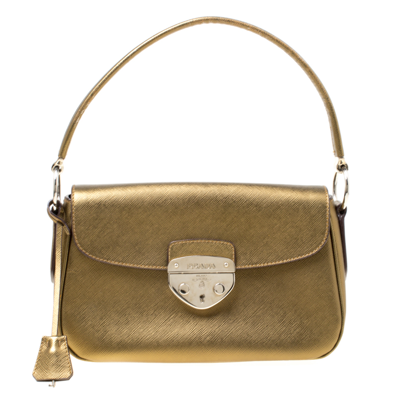 66109e9bb641 Buy Prada Bronze Saffiano Lux 1 Leather Shoulder Bag 171955 at best ...