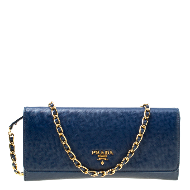 2e44ca6434f24f ... Prada Blue Saffiano Metal Leather Wallet On Chain. nextprev. prevnext