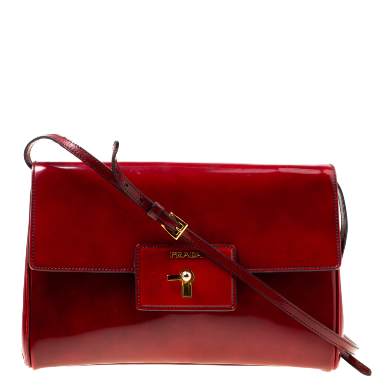 7fe2d1cb501f Prada Red Patent Leather Turn Lock Shoulder Bag 174909 At Best