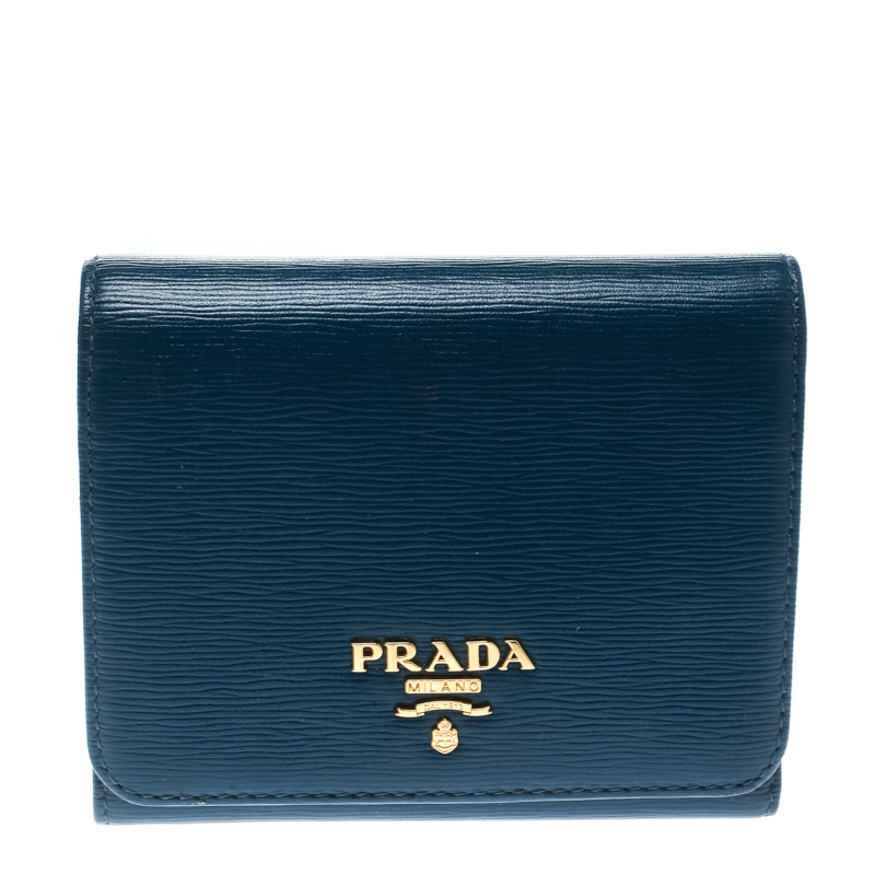 b76b941eb428 Buy Prada Blue Leather Trifold Wallet 175826 at best price | TLC