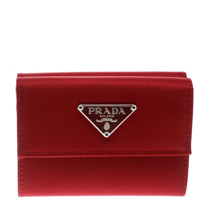 eee9d6115ecb Buy Prada Red Tessuto Nylon Wallet 176051 at best price | TLC