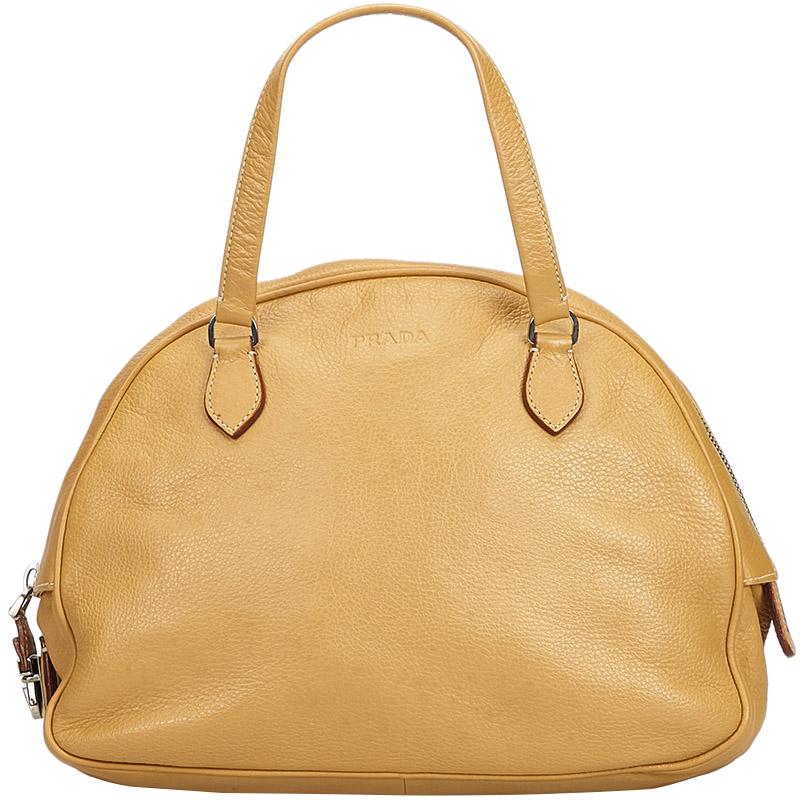 4a86ec60133fa5 Buy Prada Brown Leather Shoulder Bag 176142 at best price | TLC