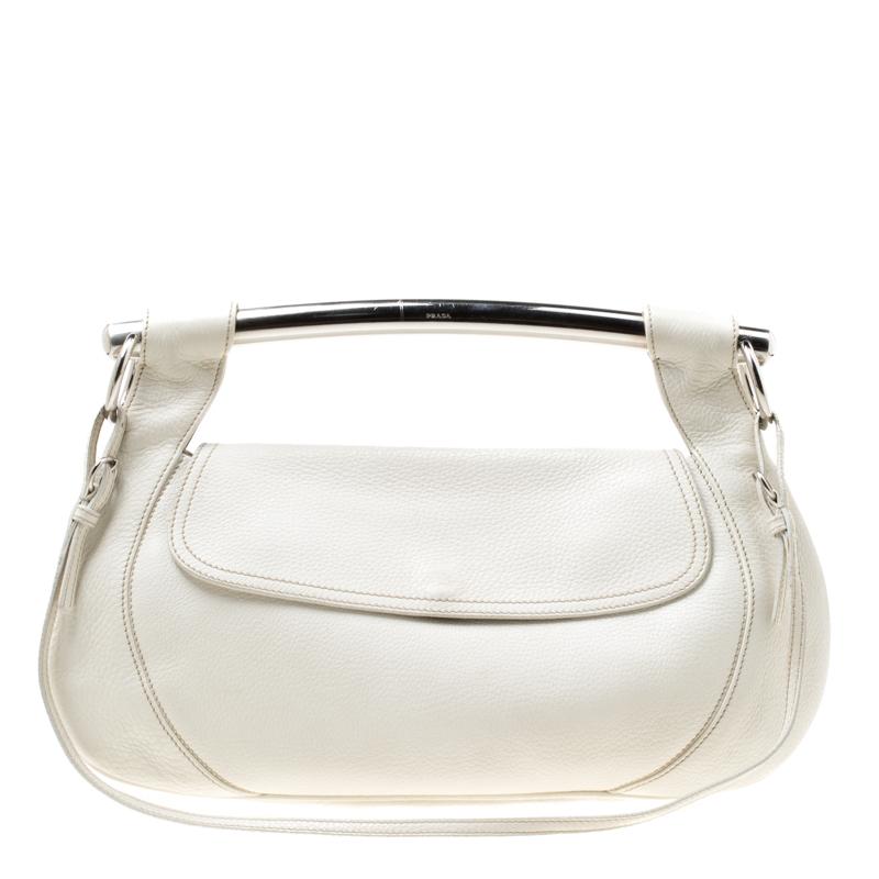 ... Prada Off White Leather Bar Handle Shoulder Bag. nextprev. prevnext 78c2e191b0604