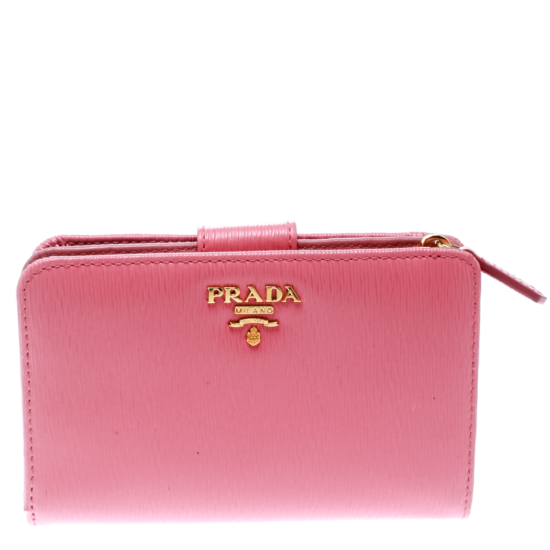 ffcc8245ae Prada Pink Leather Zip Around Compact Wallet