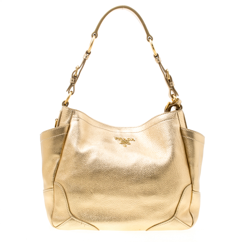 bd3255ee8d38 ... Prada Gold Vitello Daino Leather Side Pocket Hobo. nextprev. prevnext