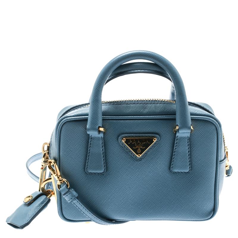 ecc0a267f Buy Prada Blue Leather Top Handle Shoulder Bag 178461 at best price ...
