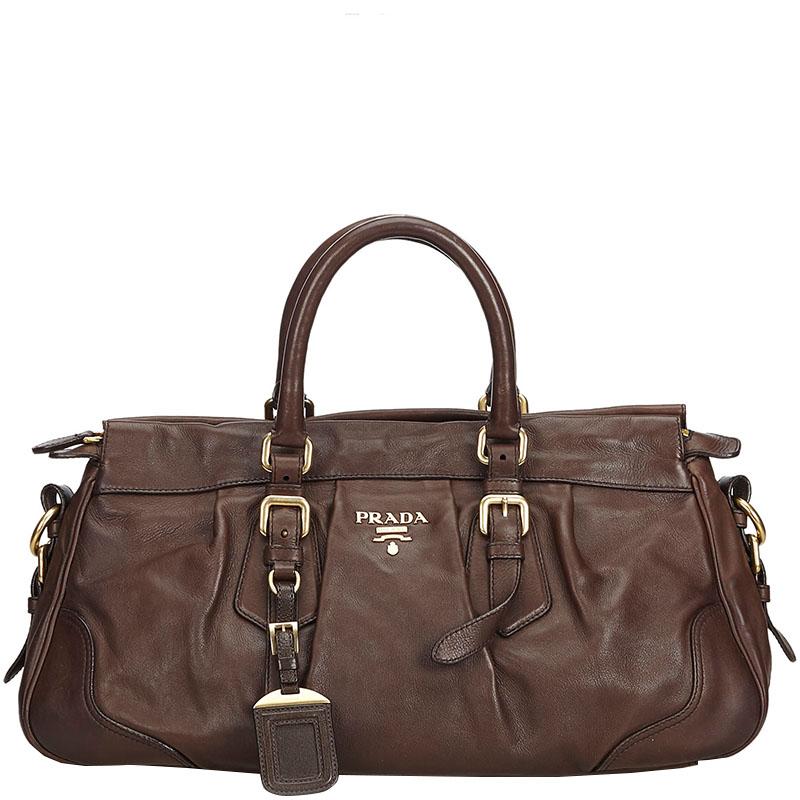1b60bbdc1296 Buy Prada Brown Leather Satchel Bag 178502 at best price | TLC