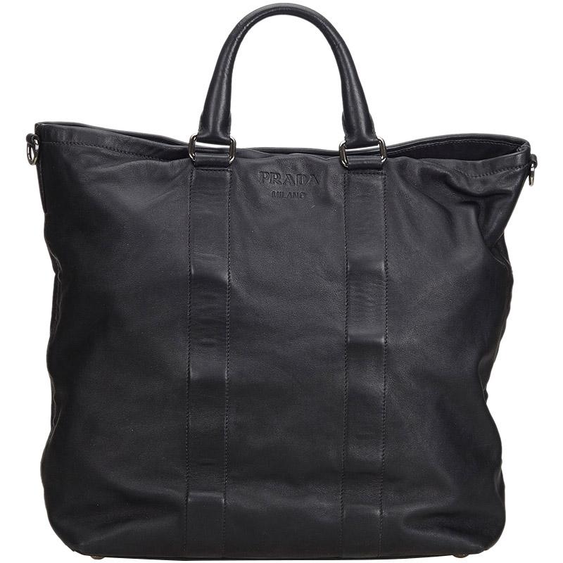 3fc6de7b7baf Buy Prada Black Leather Tote Bag 179955 at best price