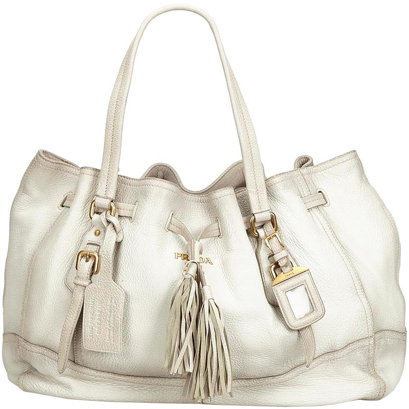 733dc39c1445 Buy Prada Ivory Leather Tassel Tote Bag 181136 at best price | TLC