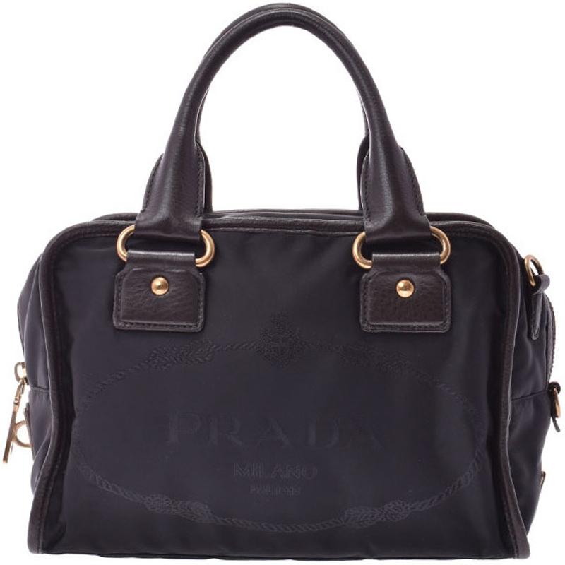 8da6153aaea0 ... Prada Black/Brown Tessuto Nylon and Leather Satchel Bag. nextprev.  prevnext