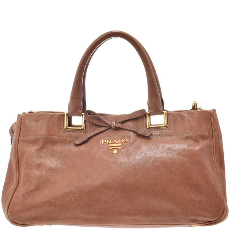 69a6a851a094 Buy Prada Brown Glace Calf Leather Tote 181939 at best price | TLC
