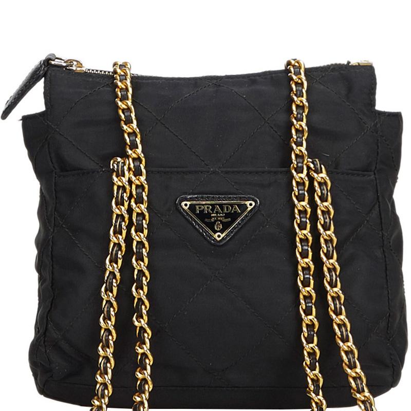 dda19ba0556a Buy Prada Black Quilted Nylon Chain Tote Bag 182909 at best price | TLC