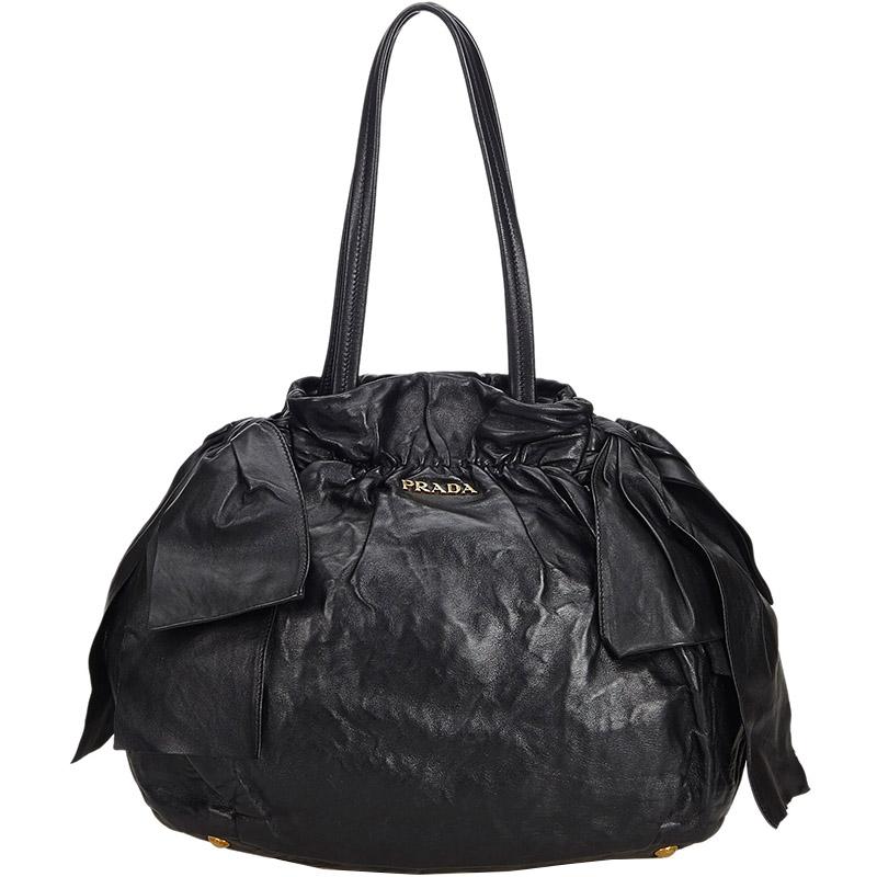 4907376c538a Buy Prada Black Leather Ribbon Tote Bag 184680 at best price