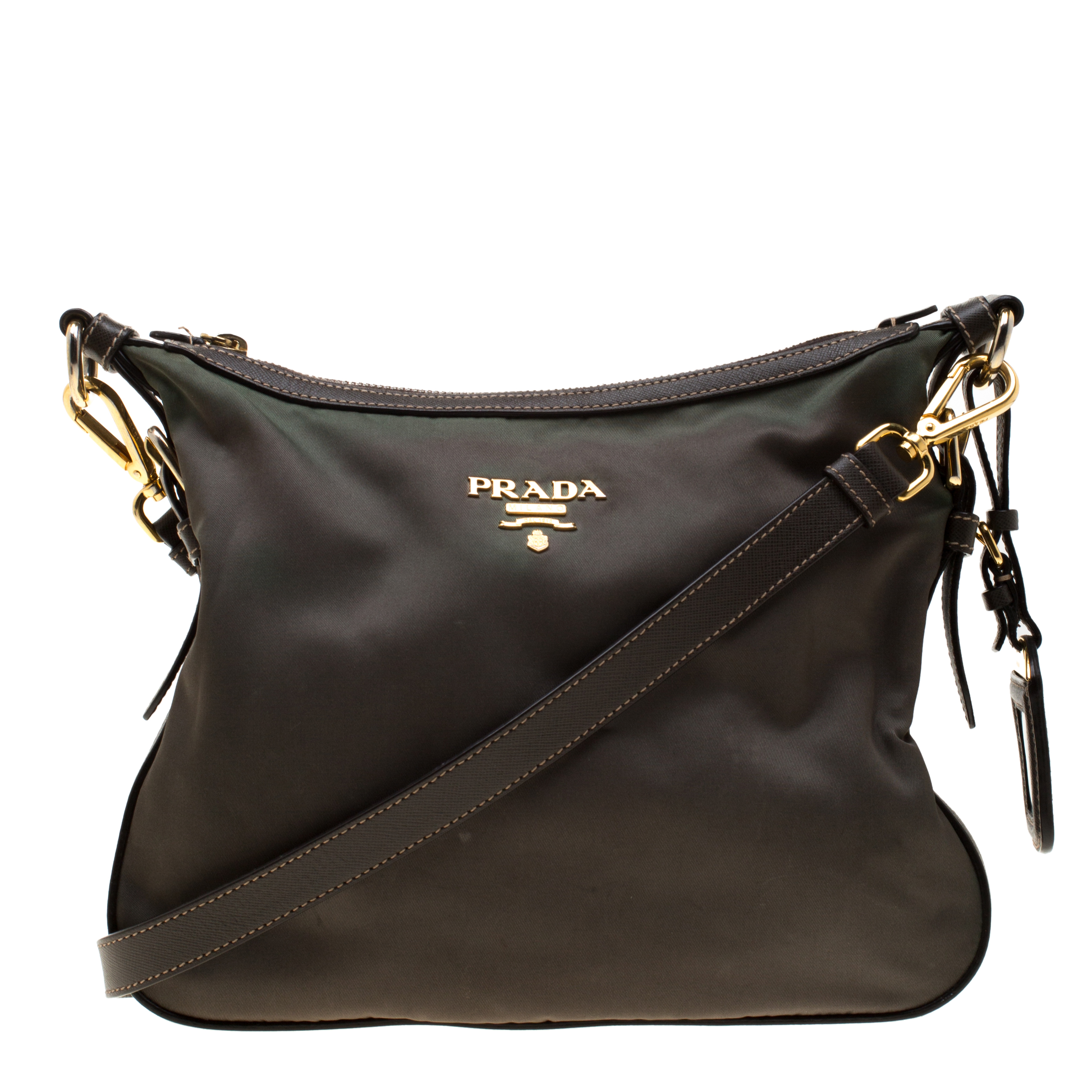 ab8248f33f79 Buy Prada Green/Brown Nylon and Leather Shoulder Bag 187057 at best ...